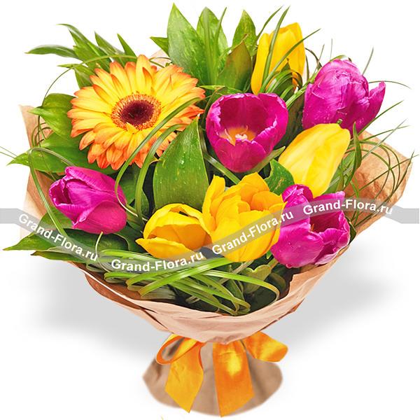 Солнечные краски - букет из гербер и тюльпанов