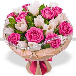 Нежные мгновения - букет из роз и тюльпановФееричные цвета этого букета из тюльпанов способны улучшить настроение на 100%!!! Закажите его в праздник или в будний день, маме или жене, бизнес партнеру или просто понравившейся девушке, в любом случае о Вас вспомнят с самыми теплыми чувства...<br>