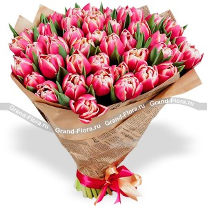 Букет из 51 розово-белого тюльпанаВсе самые трепетные чувства о которых порой, не решаемся сказать способен выразить нежнейший букет из розовых и белоснежных тюльпанов.  Поверьте, это безоговорочно верный первый шаг к званию прекрасного принца!...<br>