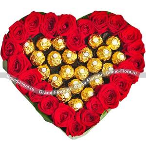 Оттенки страсти - сердце из роз и конфет...<br>