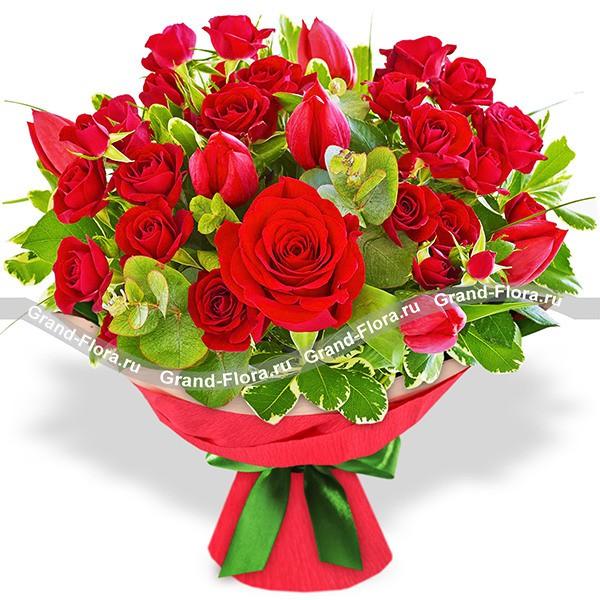 Букет красных роз и тюльпанов - Любовь