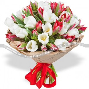 Тюльпановое настроение - букет из тюльпанов разноцветное настроение букет разноцветных тюльпанов