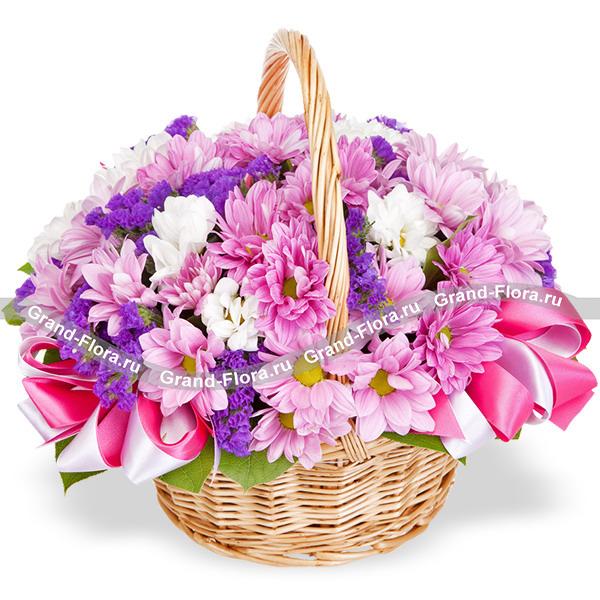 Вернисаж - корзина из хризантем