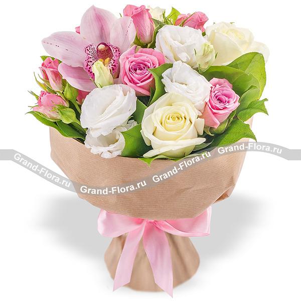 Купить Прима - Букет Из Роз И Орхидей