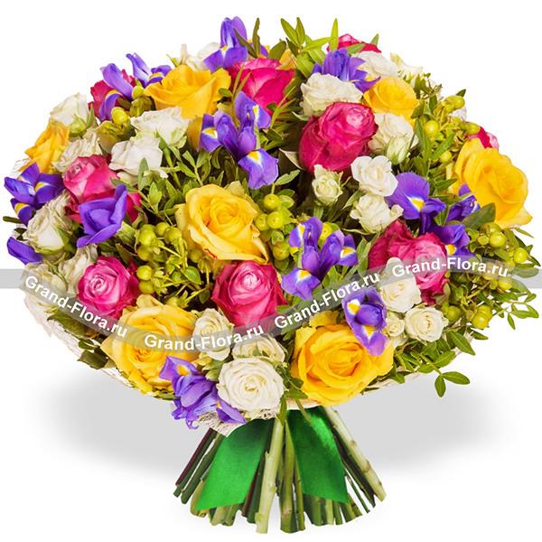 Новинки Гранд Флора Изумительной - букет из ирисов и роз фото