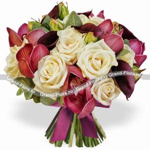 Настроение марсала - букет из роз и орхидей...<br>