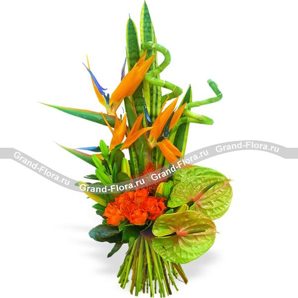 Брутальный - букет из стрелиции,антуриума и лилии