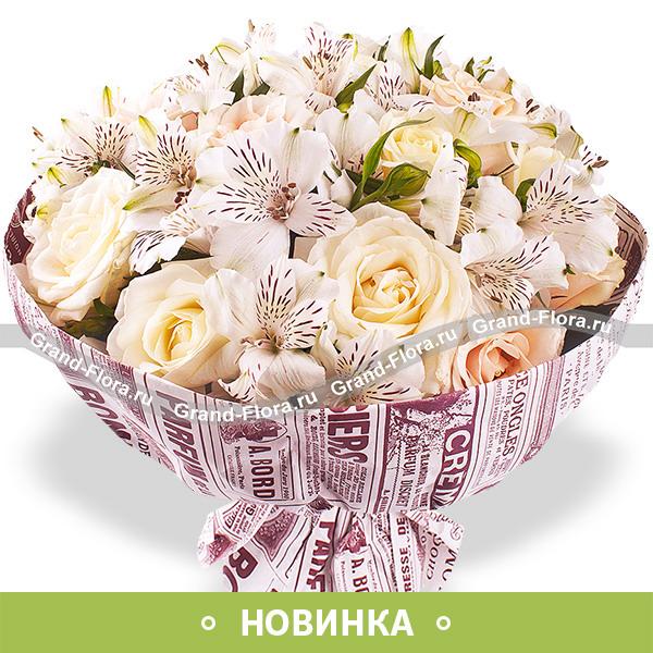 Вдвойне прекрасна - кремовые розы с альстромерией