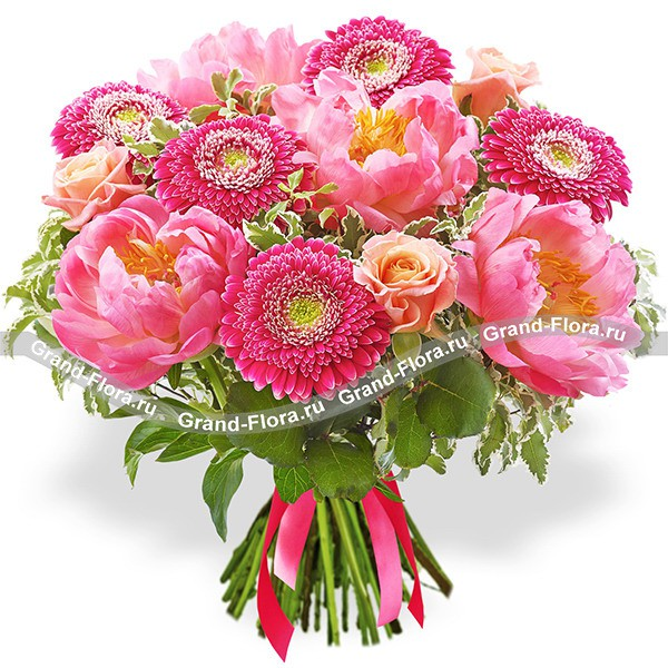 Ясное утро - букет из розовых пионов и гербер
