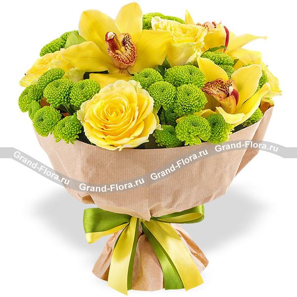 Стильный каприз - букет из желтых роз и орхидей
