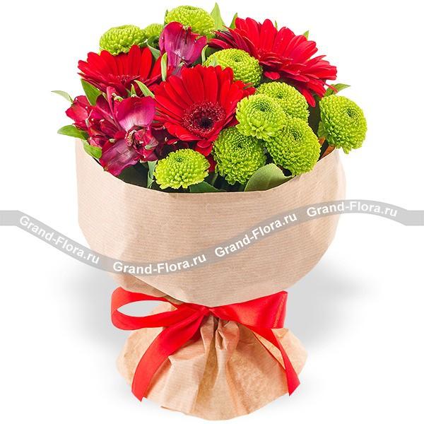 Три желания - букет из гербер и хризантем