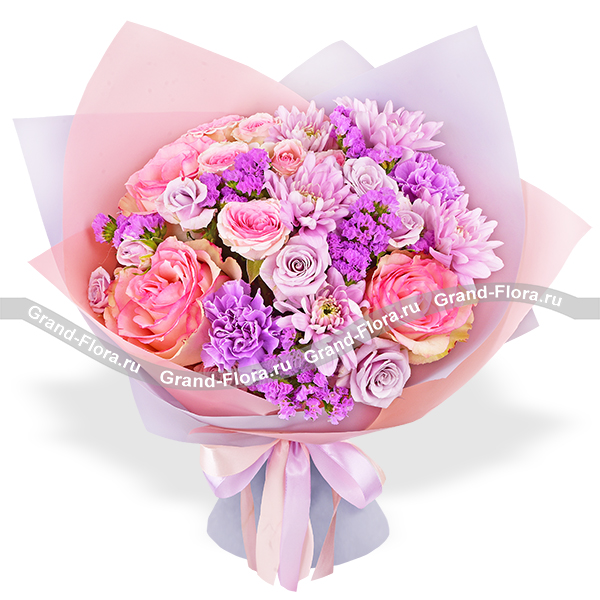 Дыхание весны - букет из розовых роз и хризантем