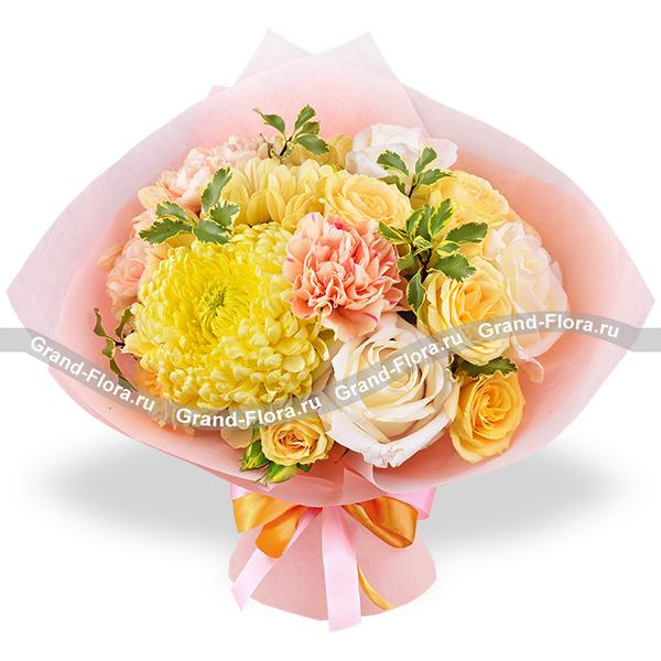 Моё счастье - букет из белых роз и хризантем
