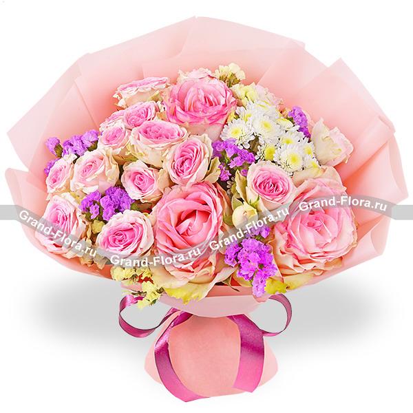 Пудровая нежность - букет из розовых роз