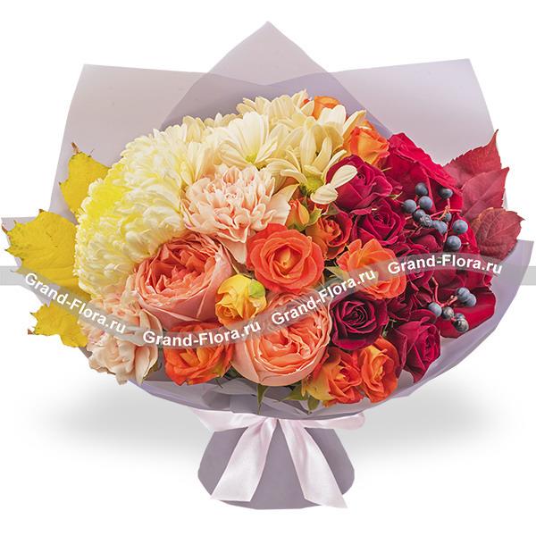 Новинки Гранд Флора Осенний мотив - букет из красных роз и хризантем фото