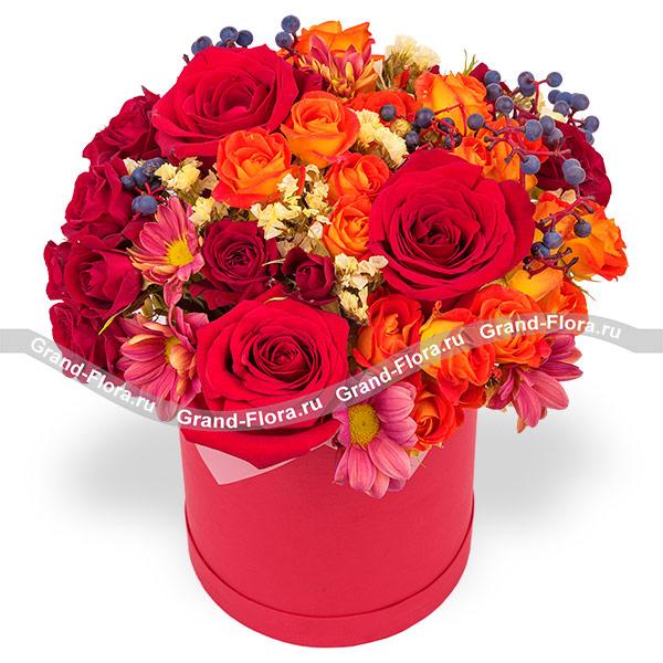Купить Бархат - Шляпная Коробка С Красными Розами