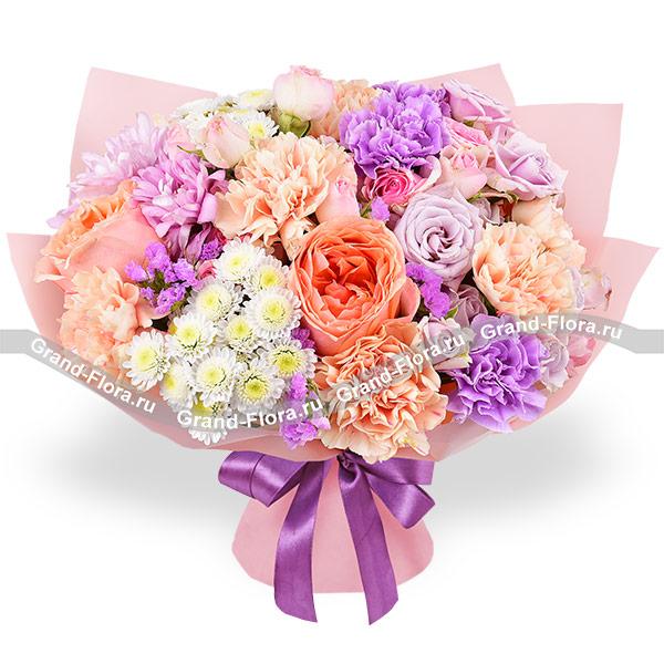 Акварель - букет из персиковых роз и гвоздик