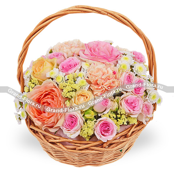 Воздушные облака - корзина с розами и гвоздиками