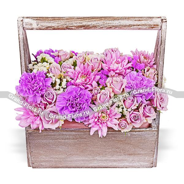 Моя любовь - композиция с хризантемами и розами