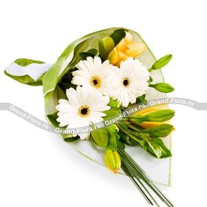 Утренняя роса - букет из лилии и герберКомпозиция Утренняя роса - еще один шедевр наших флористов, словно воплощенная прозрачная капелька, чистая и нежная, как любовь. Выгодно отличается от оригинала тем, что не растает на рассвете, а еще долгое время будет радовать глаза и сердце вашей ...<br>