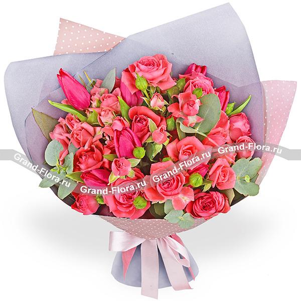 Сироп - букет с тюльпанами и кустовыми розами