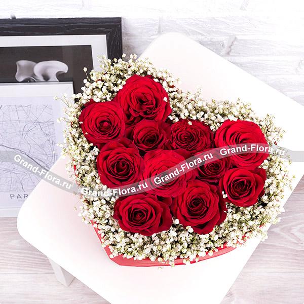 Мысли о тебе - композиция в виде сердца с красными розами