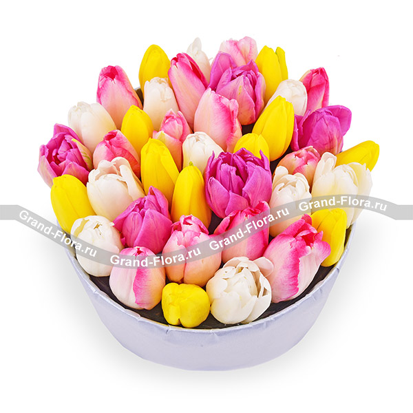 Ты прекрасна - коробка с тюльпанами