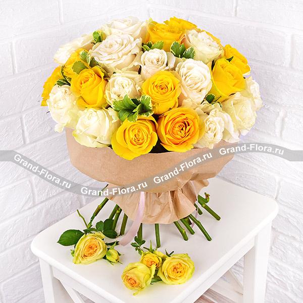 Моё солнце - букет из желтых и белых роз