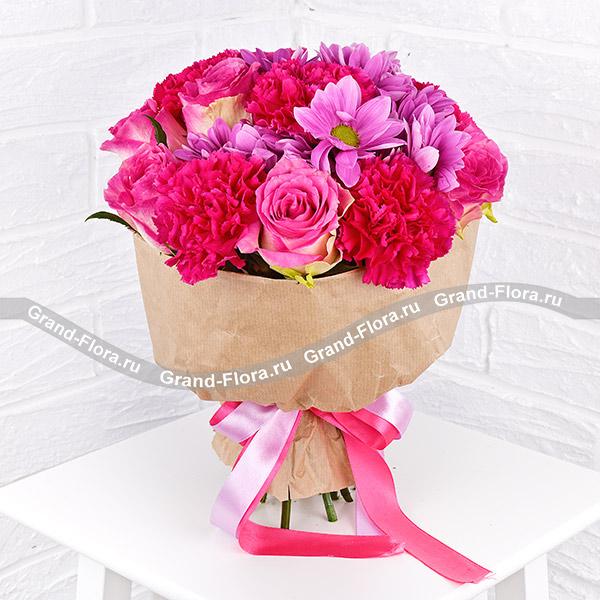 Мармелад - букет с гвоздиками и розами