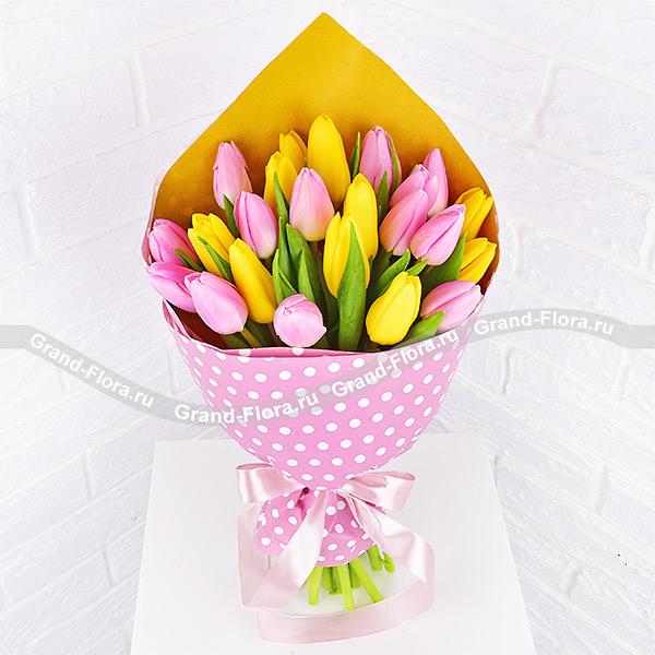 Нежное счастье - букет из желтых и розовых тюльпанов