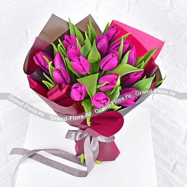 Фиолетовый закат - букет из фиолетовых тюльпанов