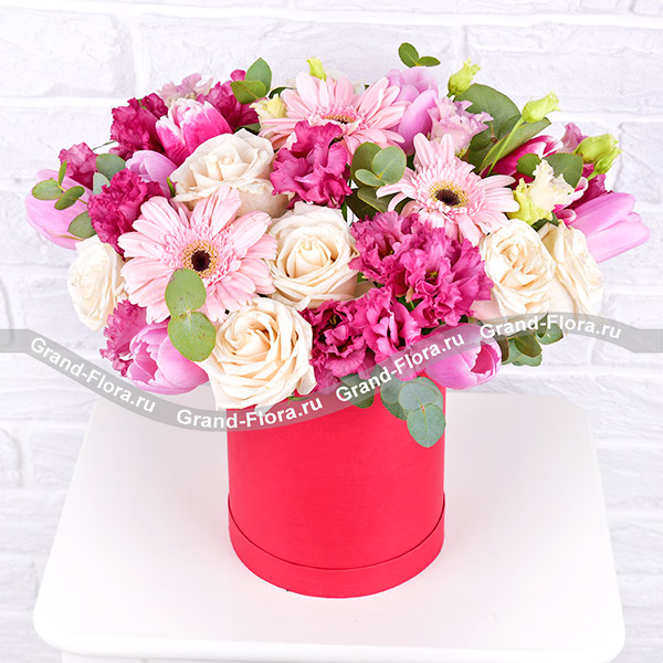 Новинки Гранд Флора Моей музе - коробка с розовыми тюльпанами и герберами фото