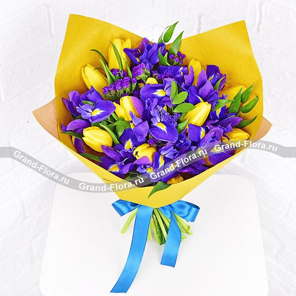Тюльпаны Гранд Флора Лучезарность - букет из желтых тюльпанов и ирисов фото