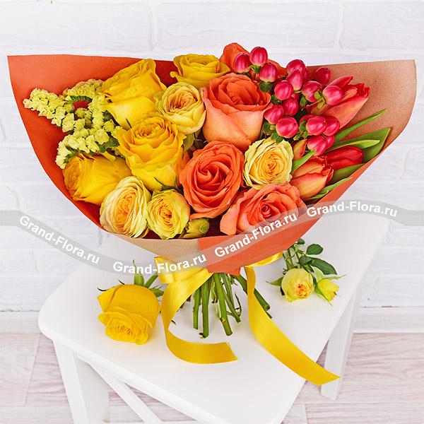 Цветочный десерт - букет с желтыми и оранжевыми розами