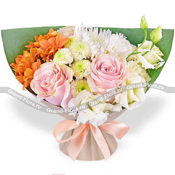 Flower Meadow A Bouquet With White Chrysanthemum And Eustoma