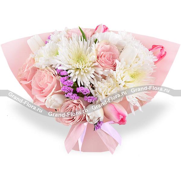 Нежные слова - букет с розовыми розами и тюльпанами