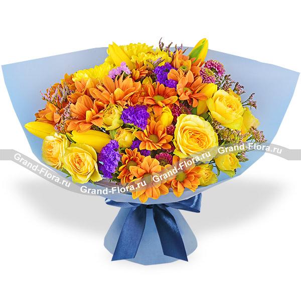 Осенние слова - букет с оранжевой и желтой хризантемой