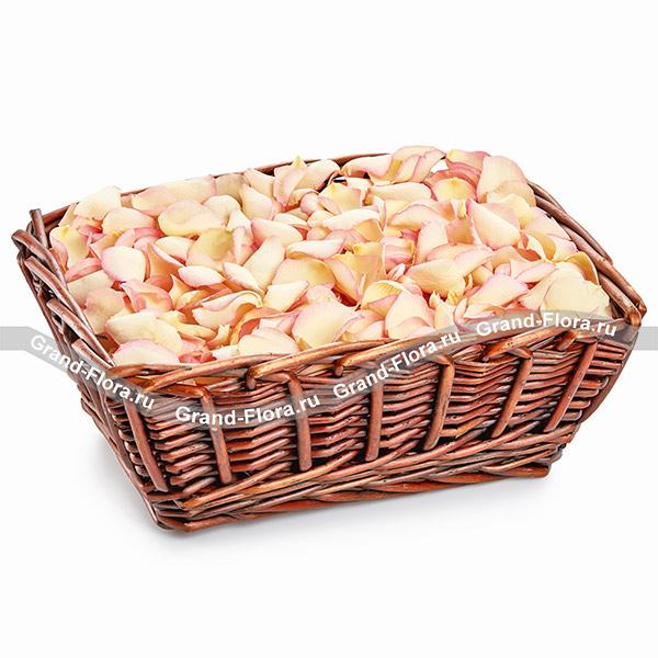 Лепестки роз Гранд Флора Аромат лета - корзина с лепестками роз фото