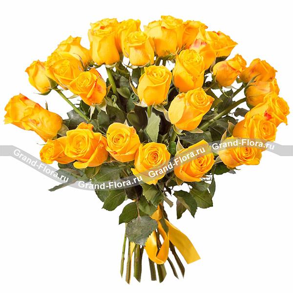 Монобукет желтых роз - букет из желтых роз