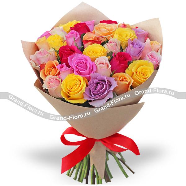 Однажды летом - букет из разноцветных роз