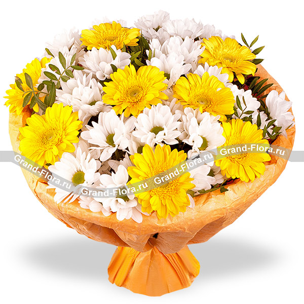 Новинки Гранд Флора Луч солнца - букет с желтыми герберами фото