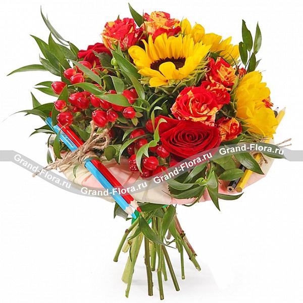 День знаний Гранд Флора Школьная пора - букет с подсолнухами и красными розами фото