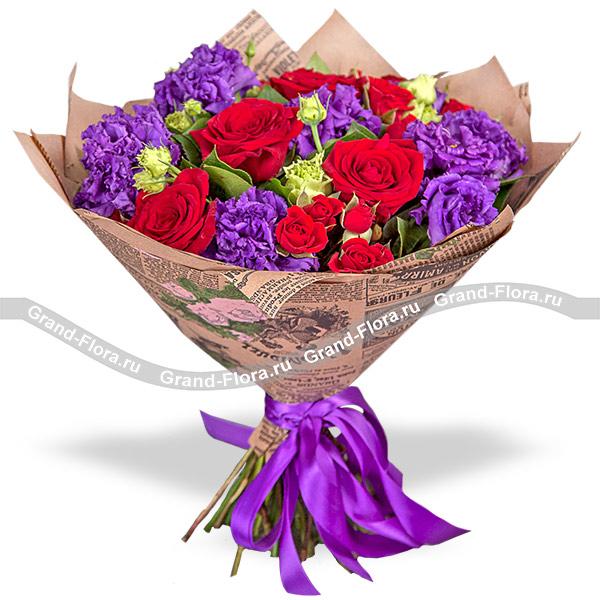 Новинки Гранд Флора Яркая осень - букет с красными розами и эустомой