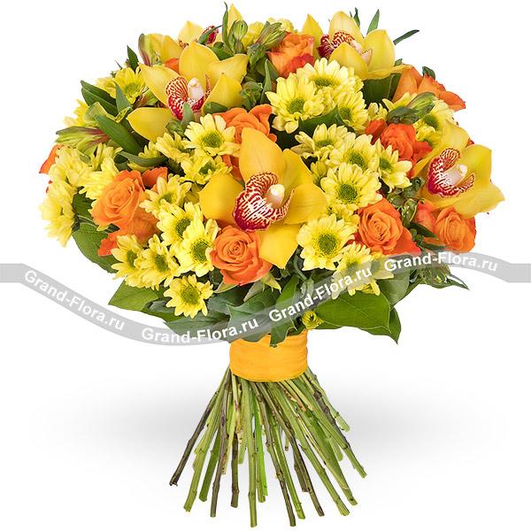 Букет Санрайз. Купить желтые хризантемы с доставкой | 600x600