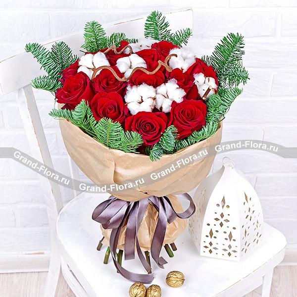 Букете букет красный с хлопком цветов