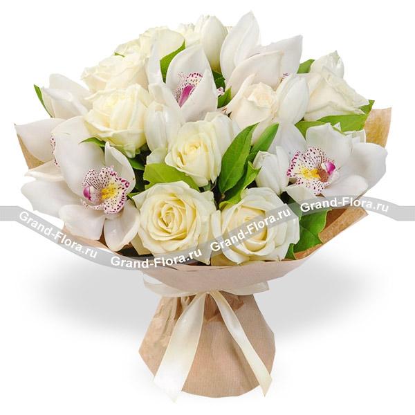 Новинки Гранд Флора Ты у меня одна - букет из роз и орхидей фото