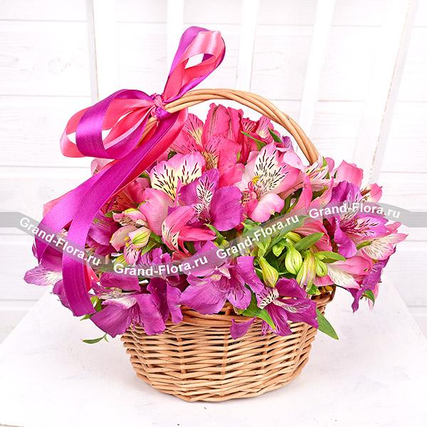 Цветочные корзины Гранд Флора Колибри - цветочная корзина с альстромериями фото