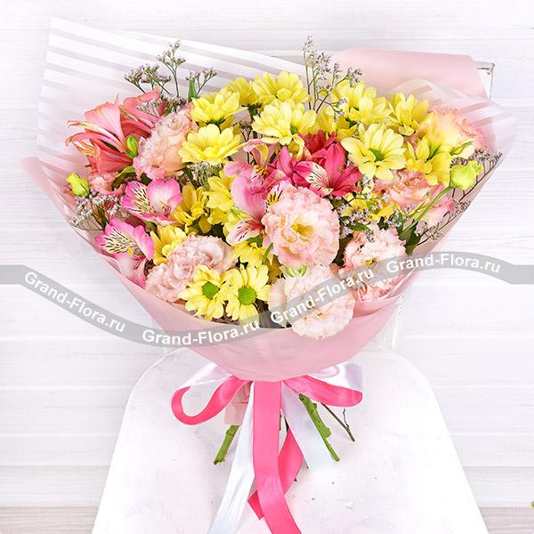 Цветы Гранд Флора Солнечный день - букет-новинка из хризантемы, альстромерии и эустомы фото