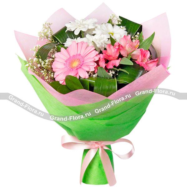 Новые букеты Гранд Флора Весенние блики - смешанный букет из альстромерии и хризантем фото