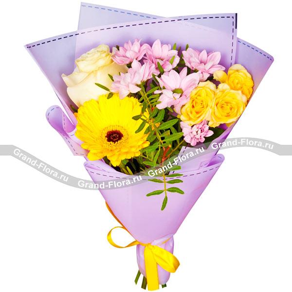 Новые букеты Гранд Флора Цветочный конфитюр - букет из хризантемы, роз и герберы фото